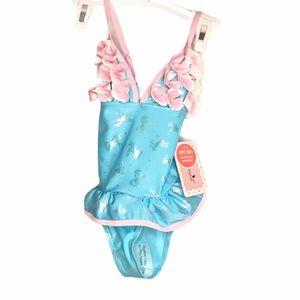 Floatimini Unicorn Swimsuit, Blue & Pink, Size 5